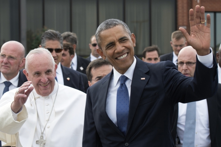 Francais has become the fourth pope to visit the US [L'Osservatore Romano/AP]