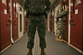 US military personnel inspect cells at the Camp 5 maximum-security facility at the Guantanamo Bay naval base [AP]