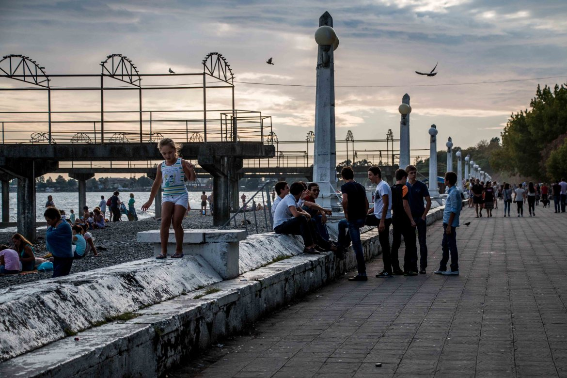 The beachfront at Sukhumi, on August 26 - independence day - although Abkhazia's sovereignty has never been recognised by the majority of the international community. [Al Jazeera]