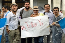 The five young people behind the #renunciaya and #justiciaya social media campaigns [Nina Lakhani/Al Jazeera]