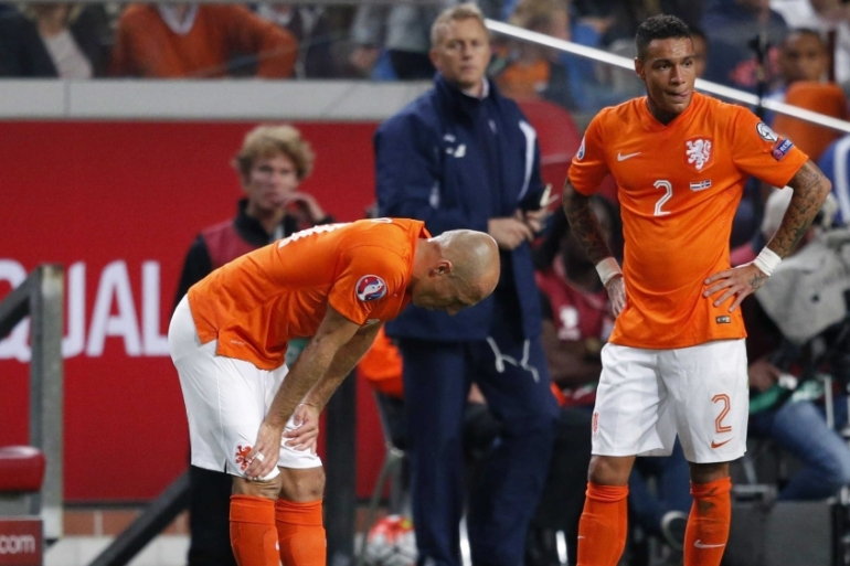 Netherlands are third in the group, six points behind Czech Republic [EPA]