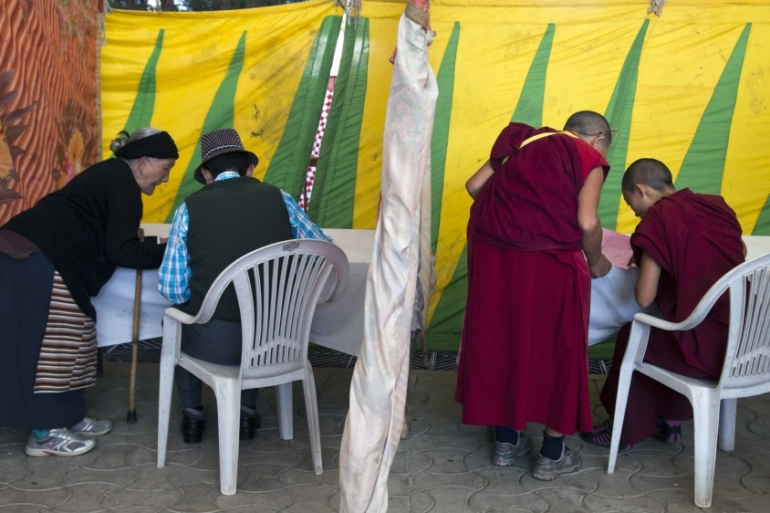 More than 80,000 Tibetans worldwide had registered to vote in Sunday's preliminary elections [Ashwini Bhatia/AP]