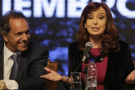 Daniel Scoli, right, is the ruling party's candidate because Kirchner is barred from running a third time [Victor R. Caivano/AP Photo]