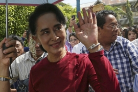 Nicknamed 'The Lady', Aung San Suu Kyi awaits official results announcing her party's landslide election victory [Soe Zeya Tun/Reuters]