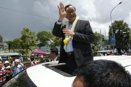 Rainsy was expected to return to the capital on Monday night, but delayed his return [File: Heng Sinith/AP]