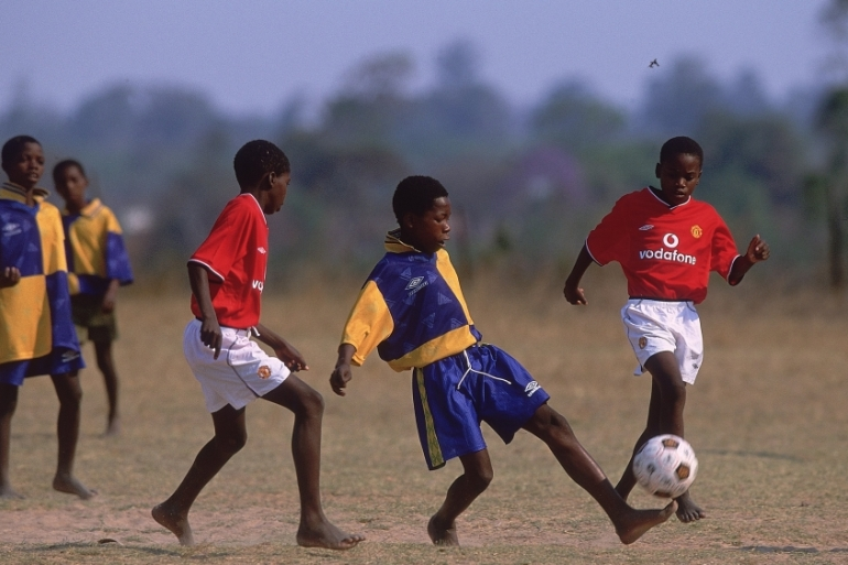 Zimbabwe's number one sport, football, has nearly 100 percent black participation [Tom Shaw/Allsport]