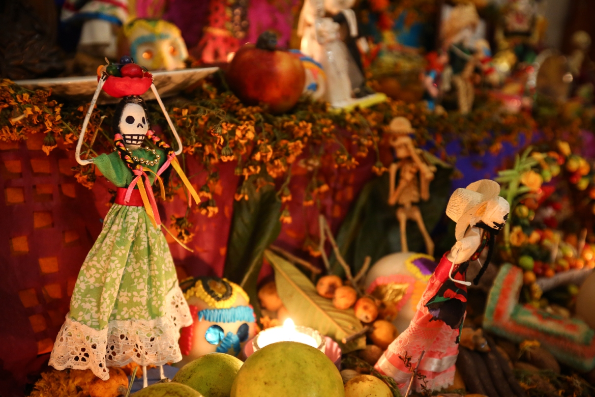Skeleton dolls called Caprinas are a female representation of death made each year for the Day of the Dead. [Gabbi Campos/Al Jazeera]