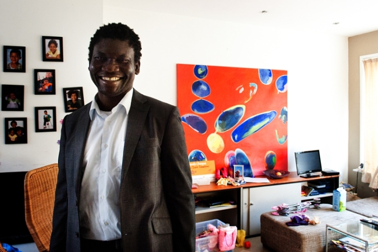 Bright O Richards, a refugee from Liberia, helps newly arrived refugees in Holland  [Photo: Mona Vandenberg]
