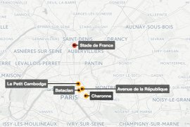 Map: Where the Paris attacks happened