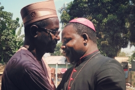To prepare the Pope's visit, the Archbishop of Bangui met with Muslim religious leaders at the central mosque, located in the troubled PK5 neighborhood. [Margaux Benn/ Al Jazeera]