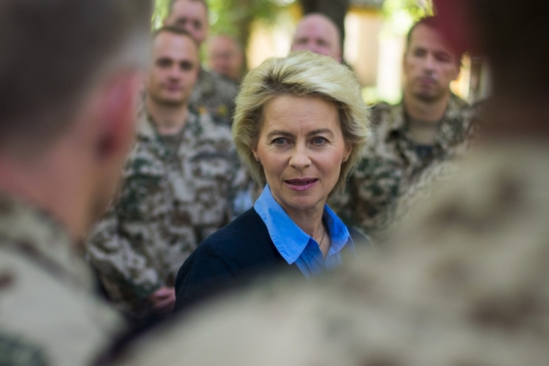 Ursula von der Leyen [centre] says the troop deployment is to relieve military pressure on France [EPA]