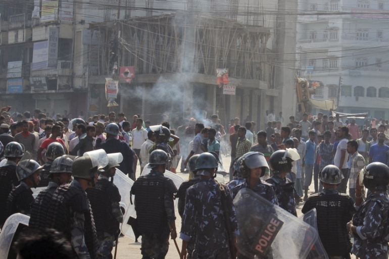 Protesters from Nepal's Madhesi ethnic group have been protesting against the government since August [AP]