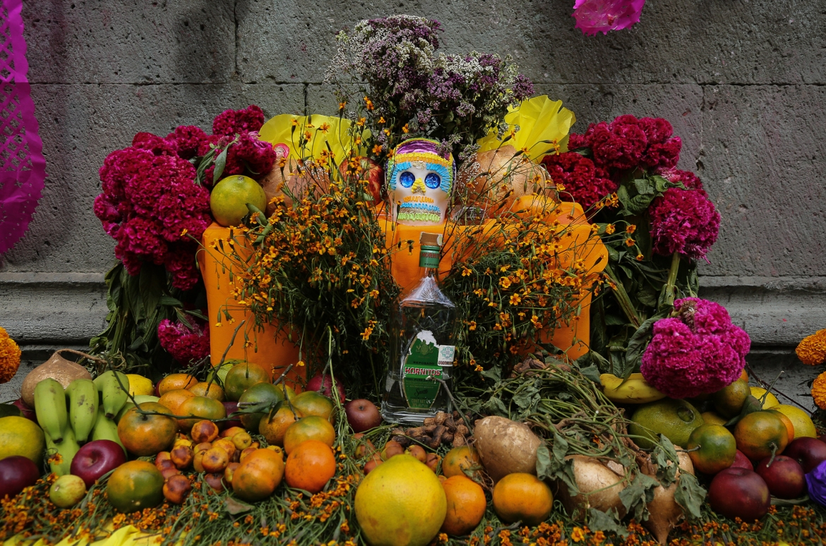 An alter located on the Zocalo, the main square at the centre of Oaxaca. Alters typically contain candles, marigolds and incense, which is used to guide the dead back home. There may also be other items that are specific to the deceased. In this case, it's a bottle of hornitos tequila. [Gabbi Campos/Al Jazeera]