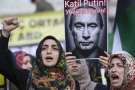 Turkish protesters shouted slogans against Russia during a protest after Friday prayers in Istanbul [EPA]