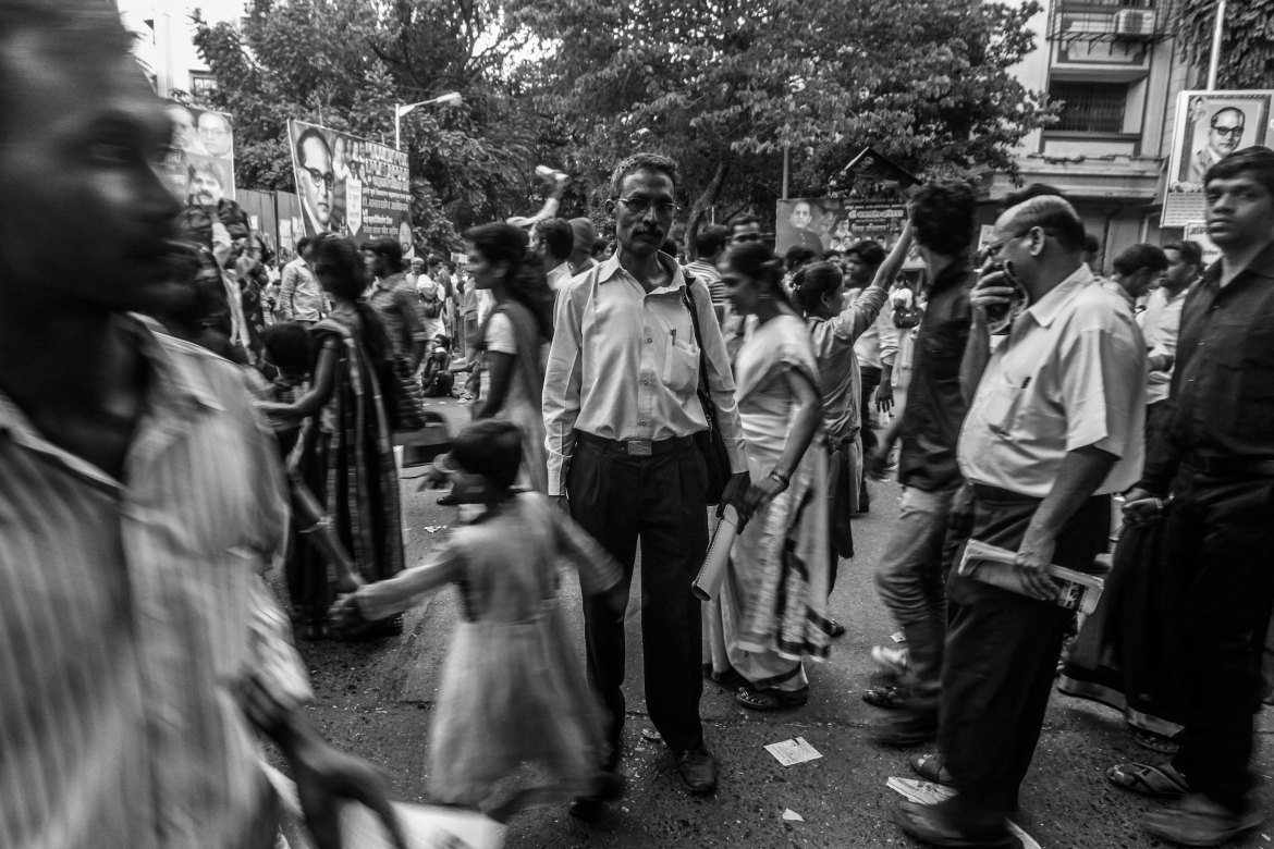 Jaywant Hire is a journalist and activist from Ramabai Nagar in Mumbai. 'Chaityabhoomi is for all those who value secularism, humanism, rationality and justice for all peoples,' he says. 'This is where they come to get inspiration.' [Javed Iqbal/Al Jazeera]