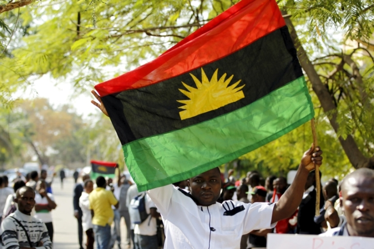 The Indigenous Peoples of Biafra group held a series of protests following Kanu's detention [Afolabi Sotunde/Reuters]