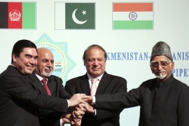 Leaders from Afghanistan, India and Pakistan converged in Turkmenistan to launch the 1,814km TAPI pipeline [AP]