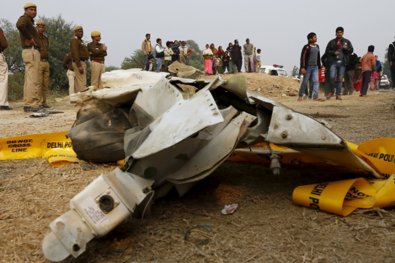 The wreckage of the aircraft that crashed on Tuesday on the outskirts of New Delhi [Adnan Abidi/Reuters]