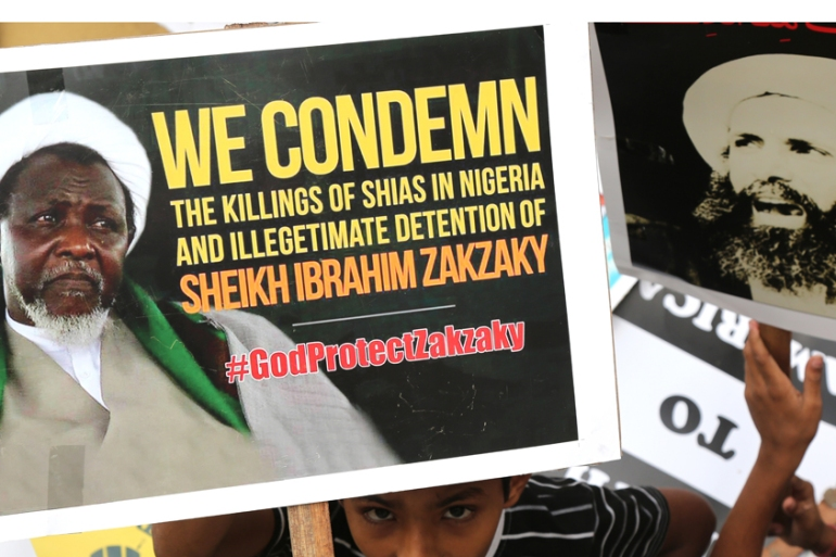 Protesters have condemned the killings and arrest in Nigeria of Ibrahim Zakzaky by the army [Jagadeesh NV/EPA]