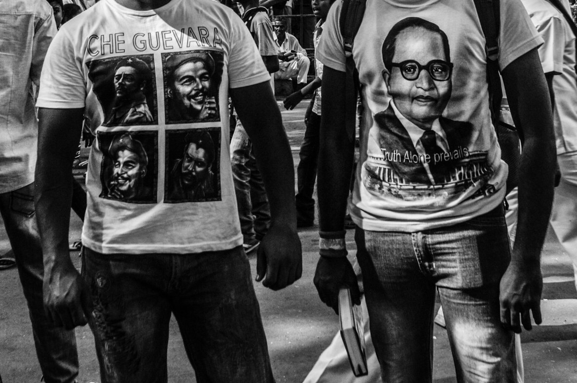 Chaityabhoomi is also where Ambedkar's ideological similarities with Karl Marx are emphasised, although many blame the left for their betrayal of the Dalit cause. Right-wing parties that now want to appropriate Ambedkar are also denounced. [Javed Iqbal/Al Jazeera]