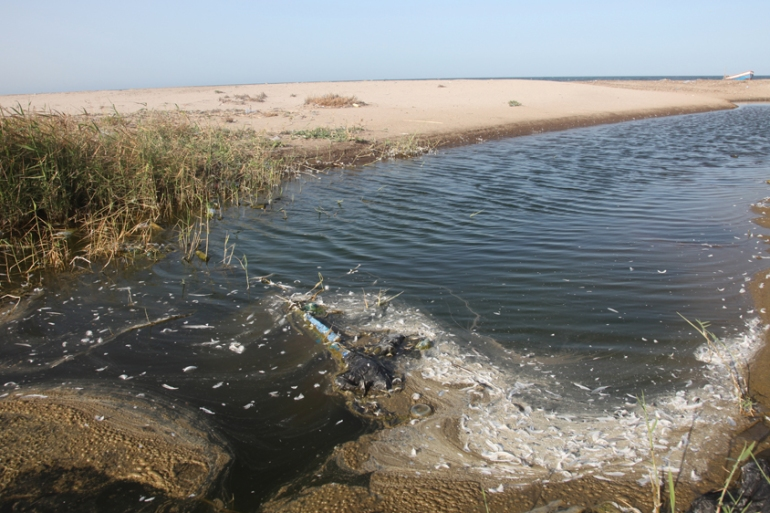 The Chott Esselam beach in Gabes, situated next to the phosphate plant, is sometimes called the 'shore of death' by environmental activists [Thessa Lageman/Al Jazeera]