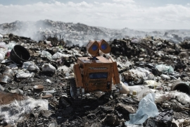 In the landfill near his home, one Bolivian boy collected e-waste to build a robot inspired by the Pixar character Wall-E [Valentino Bellini/Al Jazeera]