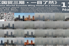 Zou Yi's Beijing skyline photos show the variation in pollution levels on a daily basis. There were only 4 pollution free days in November. [Zou Yi]
