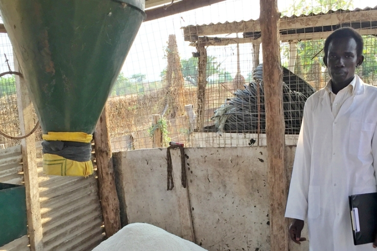 Daniel Matueny, manager of Freedom Farms in South Sudan, said the farm is suffering due to the lack of available cash to run the business [Anna Cavell/Al Jazeera]