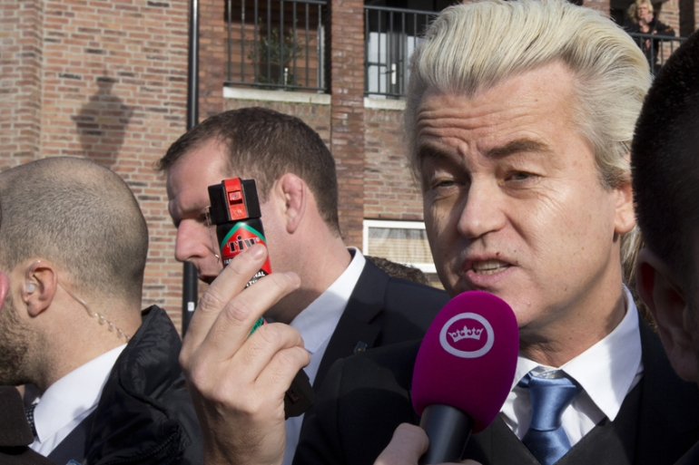 Wilders' publicity stunts have landed him atop Dutch polls a year away from parliamentary elections [Peter Dejong/AP]