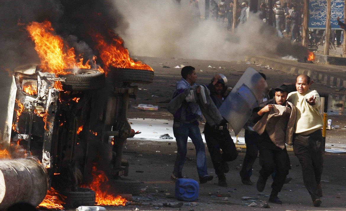 Protests turned violent in Suez on January 28. [AP]