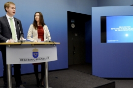 Sweden's Education Minister Gustav Fridolin and Aida Hadzialic, the minister for secondary school, adult education and training [Janerik Henriksson/Reuters]