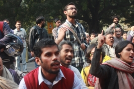 Students protest in solidarity with a University of Delhi professor [Sanjay Kumar/Al Jazeera]