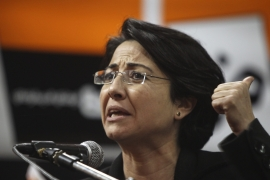 Hanin Zoabi has been given a six-month suspended sentence for 'insulting' police officers [File: Atef Safadi/EPA]