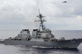 A US Navy destroyer sailed within 12 nautical miles of an island claimed by China and two other states in late January [Reuters]