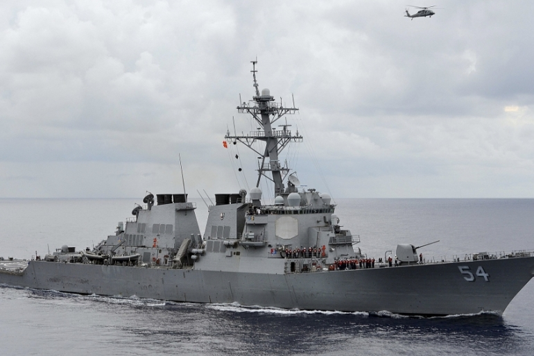 US navy said the USS Curtis Wilbur's transit through the Taiwan Strait demonstrates commitment to a free and open Indo-Pacific [File: US Navy/Mass Communication Specialist 3rd Class Declan Barnes/Handout via Reuters]