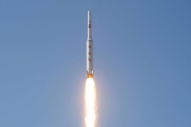 A North Korean long-range rocket is launched into the air at the Sohae rocket launch site [Reuters]