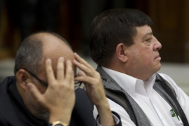 Reyes Giron listens to the judge beside his lawyer as he is sentenced to 120 years in prison [Moises Castillo/AP]