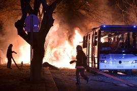The attack happened at the height of evening rush hour in the capital, not far from Turkey's parliament [Reuters]