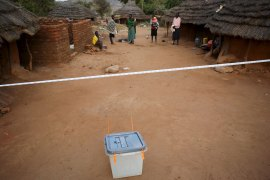 A ballot box is seen in a polling station just before people start voting during elections in Kaabong in Karamoja region, Uganda, on February 18, 2016. [Goran Tomasevic/Reuters]