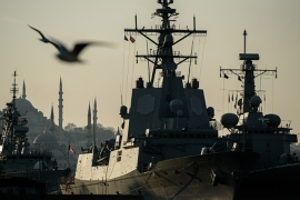 NATO frigates docked at Sarayburnu port in Istanbul [AFP]