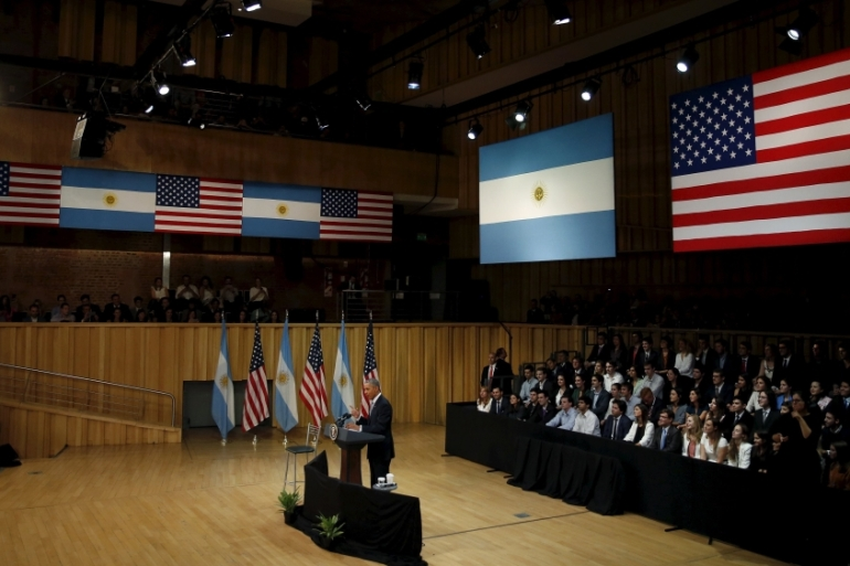 US President Barack Obama attends a town hall meeting during Argentina visit [Carlos Barria/Reuters]