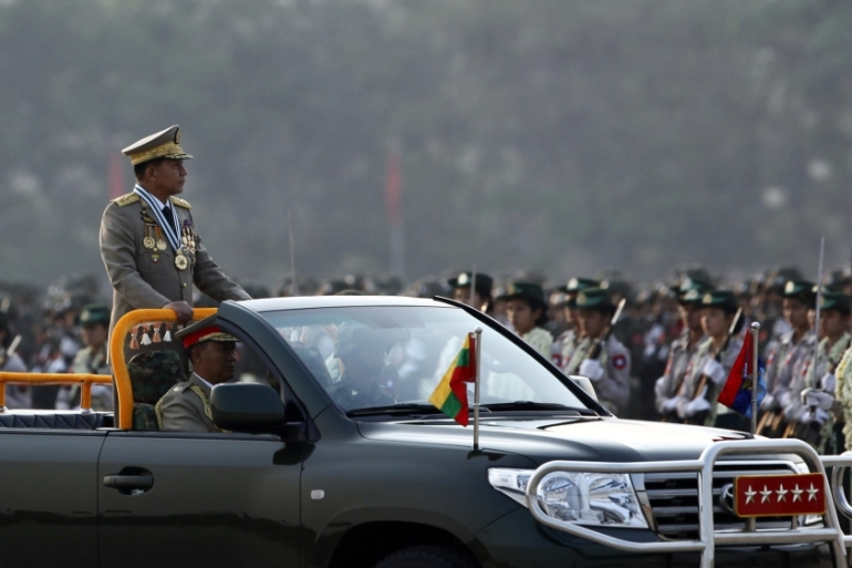Senior general Min Aung Hlaing reasserted the military's belief that it is the country's sole unifying force [AP]