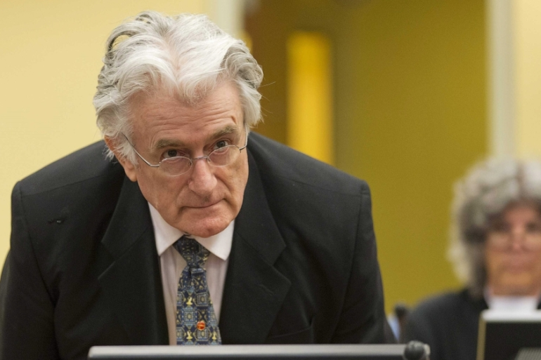 Karadzic is accused of orchestrating the 1995 slaughter of 8,000 Muslims [File: Michael Kooren/EPA]