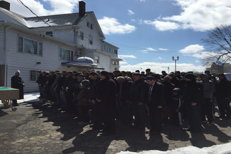 A funeral or Janazah prayer at a mosque in Rochester, New York. Ahmet Kargi drove 12 to 14 hours to reach the community. The body was to be shipped to Kosovo [Ahmet Kargi]