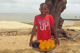 Beitu Candrinho must sell 90 oranges in 14 days, working 12-hour shifts, to ensure a roof over his and his sister's heads and two meals a day [Hamza Mohamed/Al Jazeera]