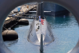 A Japanese submarine is seen from the port hole of the destroyer ship, in Zambales province, Philippines, April 2016. [EPA]