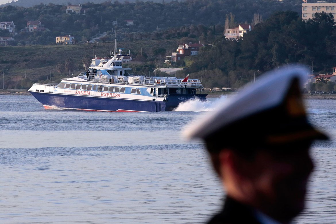 A ferry heads for Turkey on April 4, 2016 in Lesbos, Greece. [Milos Bicanski/Getty Images]