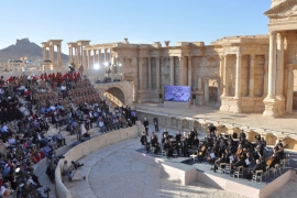 Russia's Mariinsky Theatre orchestra performs at the amphitheatre in the Syria's historic city of Palmyra [Reuters]