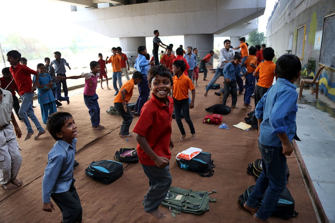 Each Saturday, the pupils do physical exercises. [Showkat Shafi/Al Jazeera]