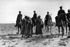 Soldiers on horseback in the Iraqi desert during the Mesopotamian campaign, circa 1916 [Getty]